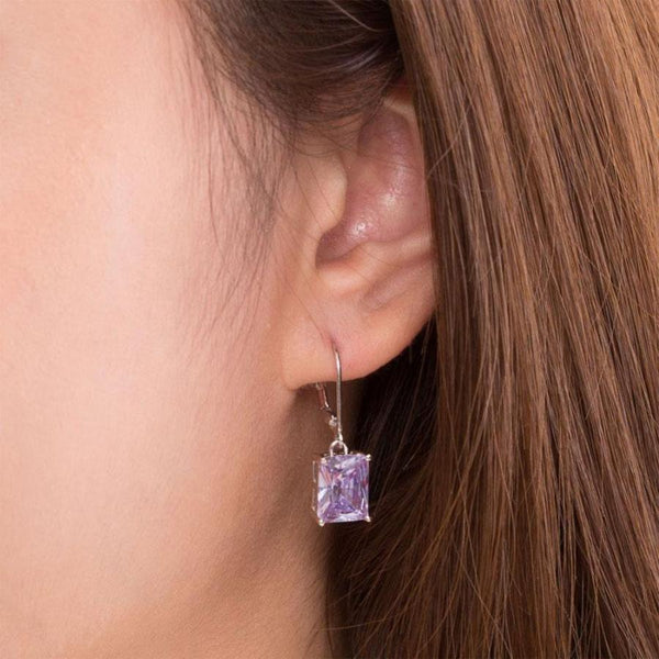 Purple Sapphire 4 Carat Dangle Earrings