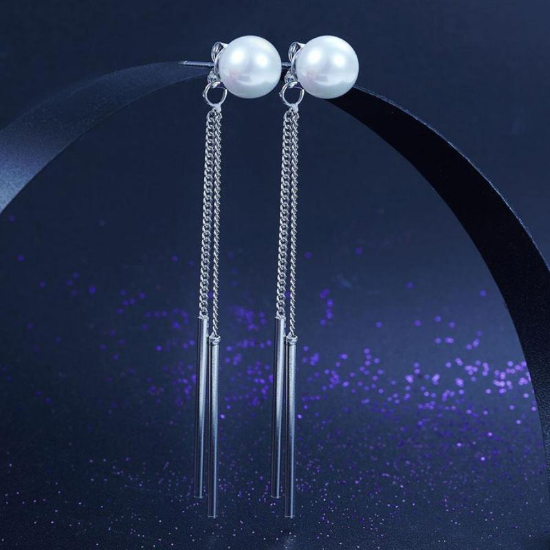 Pearl Long Line Fringe Dangle Earring