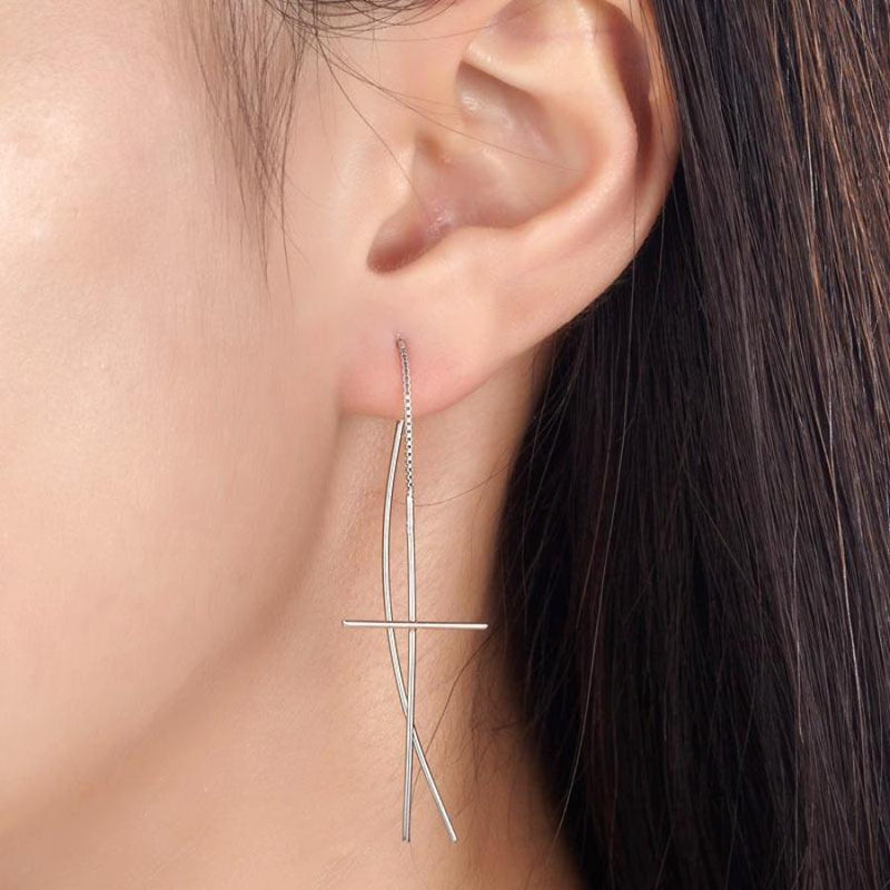 Falling Dangle Long Line Cross Earrings