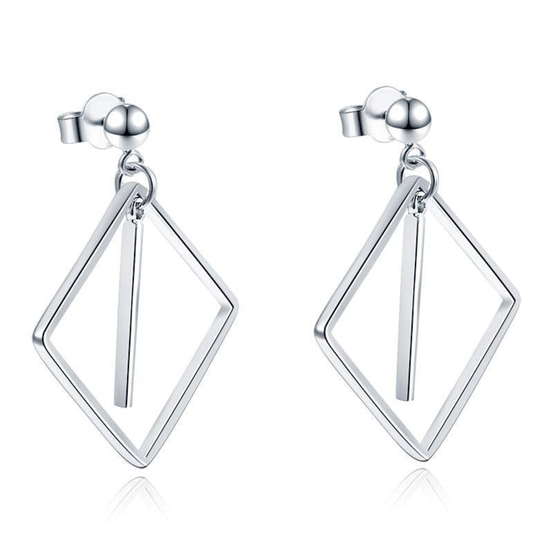 Square Line Silver Dangle Earrings