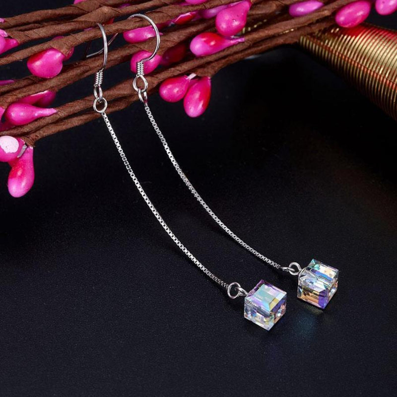 Austrian Crystal Drop Line Party Earrings