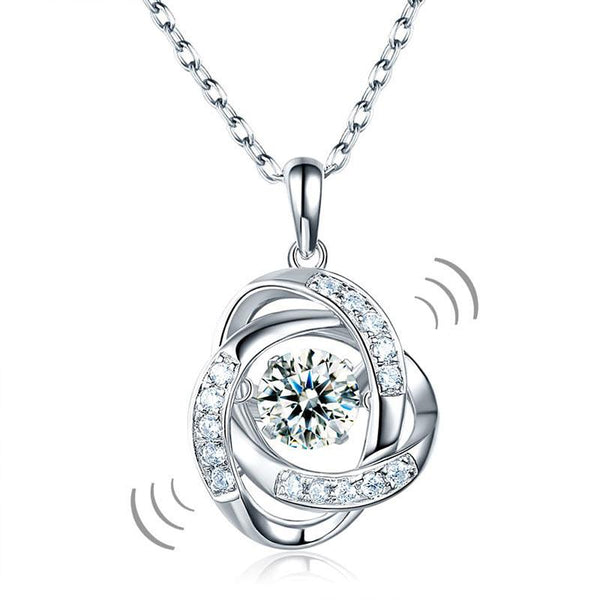 Swaying Stone | 5.7(mm) Round Cut Orbiting Bezel Pendant Necklace