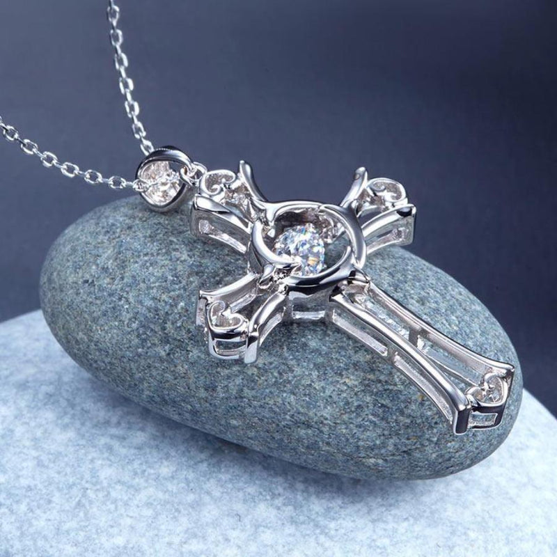 Bridal Necklace, Jewelry, White Sapphire, Sterling Silver , Swaying Stone, Cross Necklace