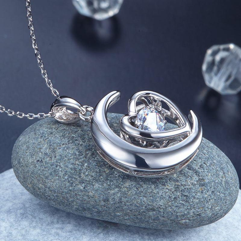 Swaying Stone | Heart On The Moon Pendant Necklace