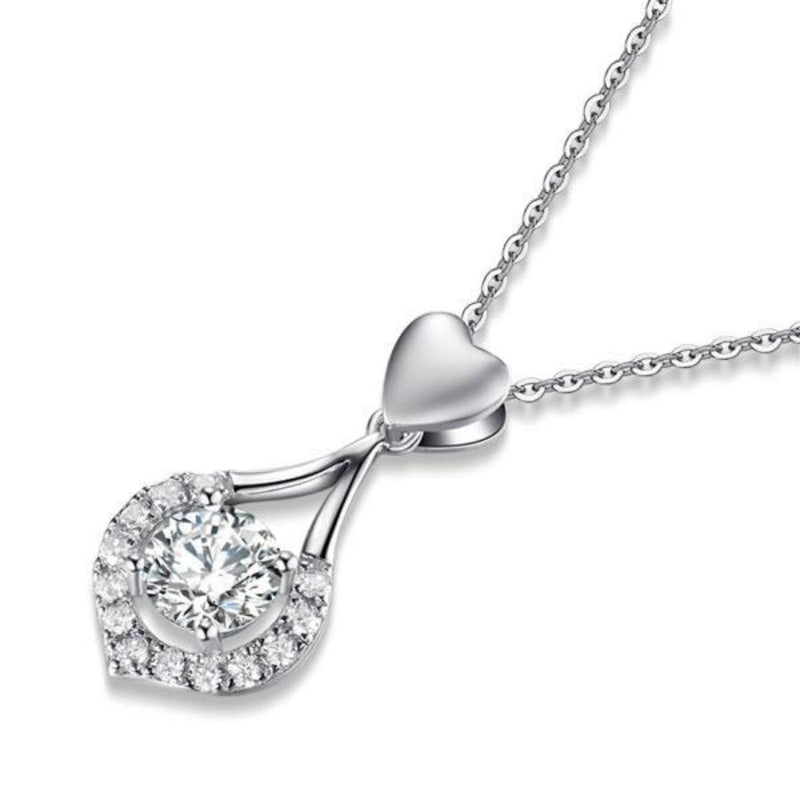 Bridal Necklace, Jewelry, White Sapphire, Sterling Silver , Heart Necklace