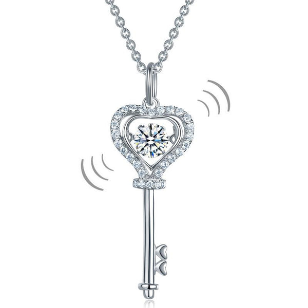 Swaying Stone | Kid's Girl 4(mm) Heart Key Pendant Necklace