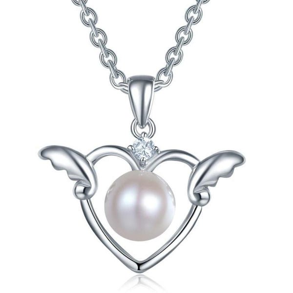 Kids Girl Angel Heart Pendant Necklace