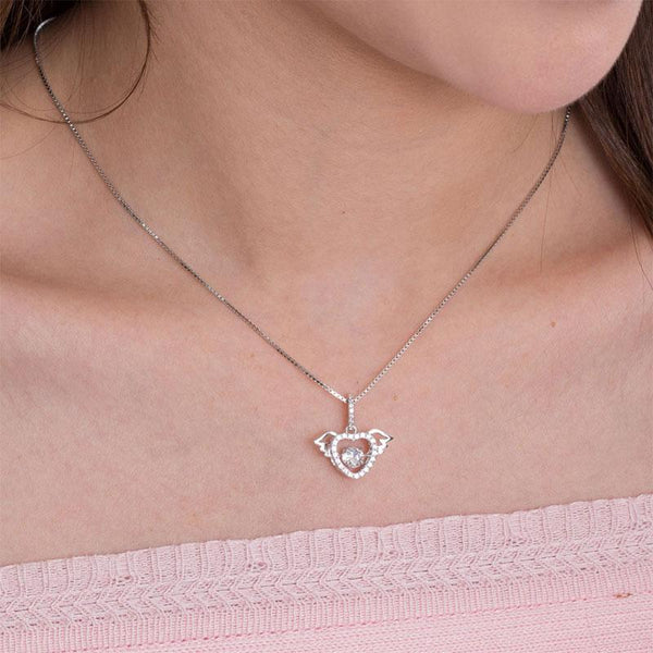 Swaying Stone | 5(mm) Winged Heart Pendant Necklace