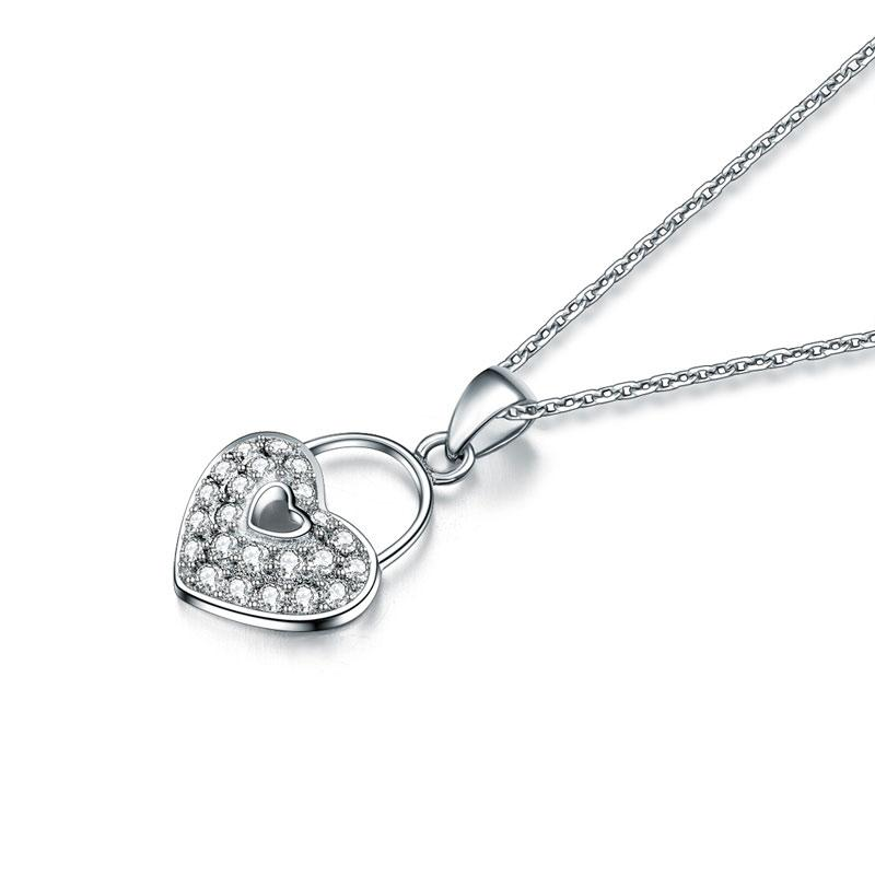 DBE Jewels, Heart, Lock, Pendant, Necklace, Cute, Sterling Silver