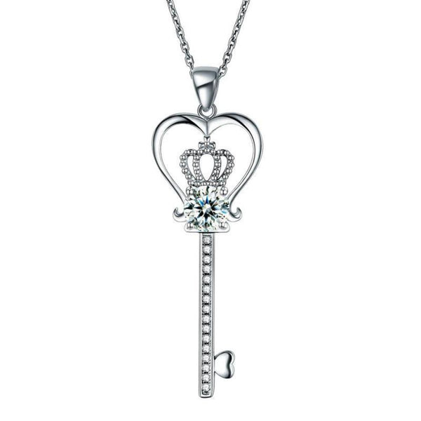 1.25 Carat heart Key pendent necklace, jewelry, DBEJEWELS, discount jewelry, sterling silver, gift ideas