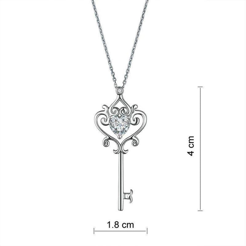 Bridal Necklace, Jewelry, White Sapphire, Sterling Silver , key Necklace pendent