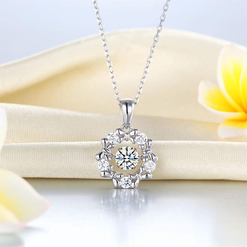 Swaying Stone Crafted White Sapphire Ribbon Flower Pendant Necklace