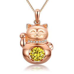Swaying Stone | Rose Gold Plated Happy Cat Pendant Necklace