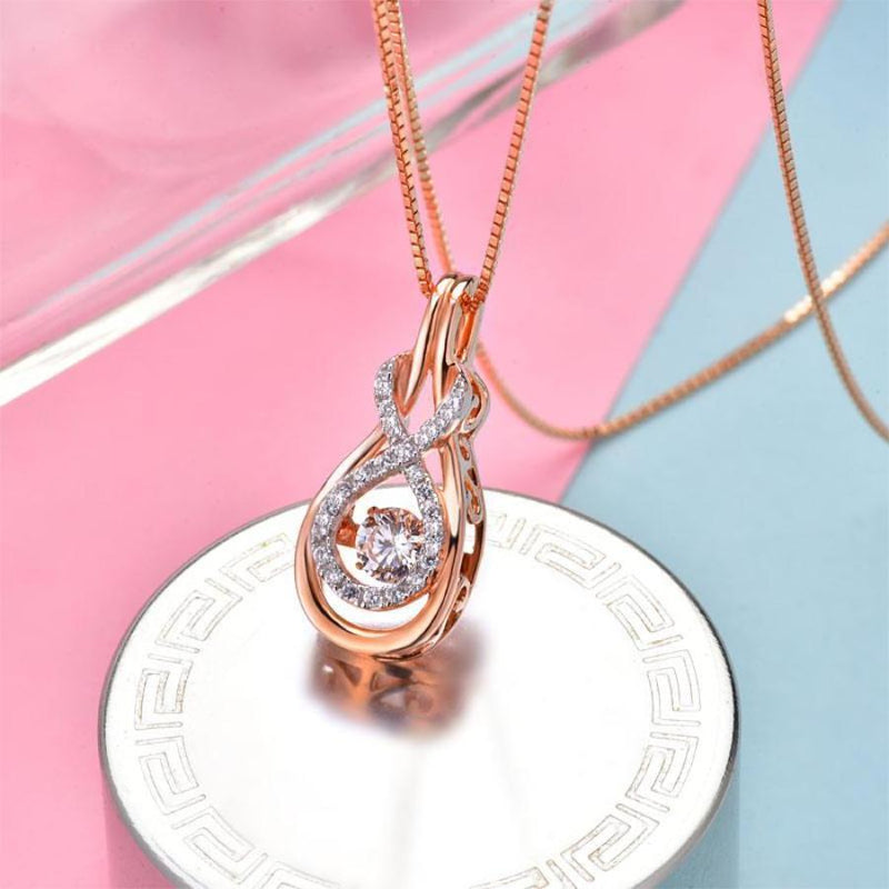 swaying Stone, Breast Cancer Awareness Necklace, Rose Gold, Crafted White Sapphire, DBEJewels