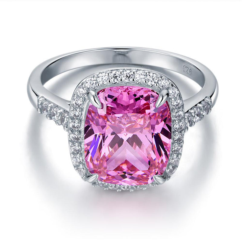 6 Carat Cushion Vibrant Pink Bezeled Statement Ring