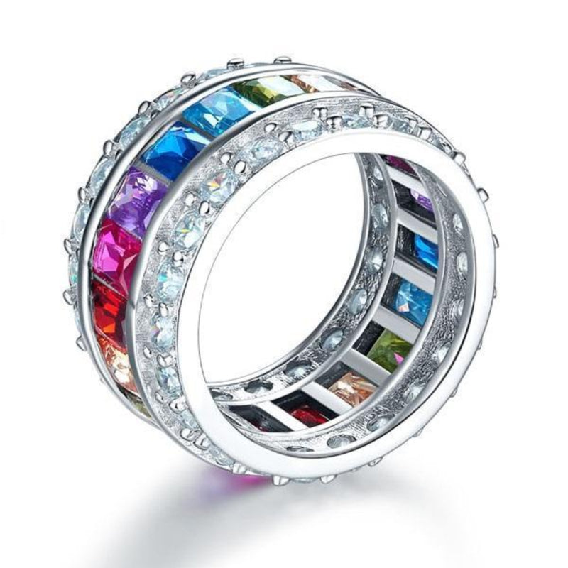 Multi-Colored Emerald Cut Sterling Band