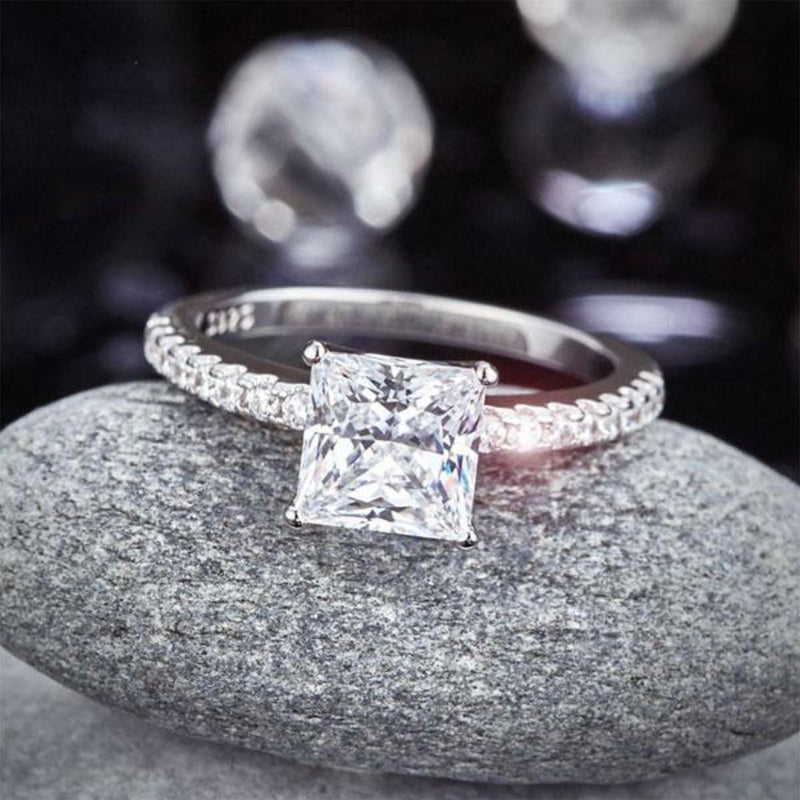 Princess Cut 1.5 Carat Half Embedded Band Ring