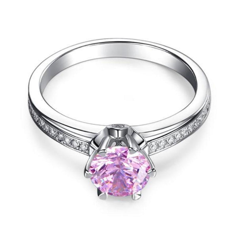 Round Brilliant Cut 1.25 Pink 6 Claw Sapphire Ring