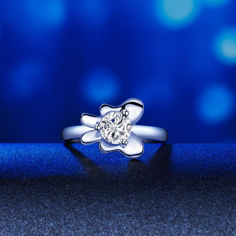 Butterfly Flower 1 Carat 2-Pcs Ring Set