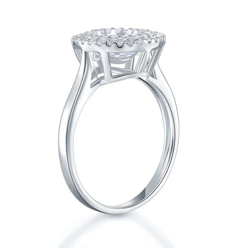 Swaying Stone Double Halo Round Cut White Sapphire Ring