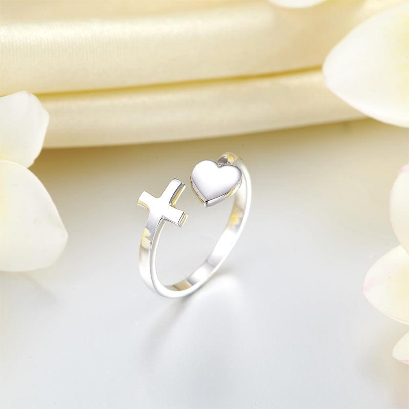 cross, heart, ring, sterling silver, cute, fashion, Jesus, love friendship ring