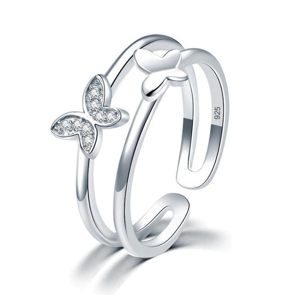 Fashion Butterfly Silver Band Ring