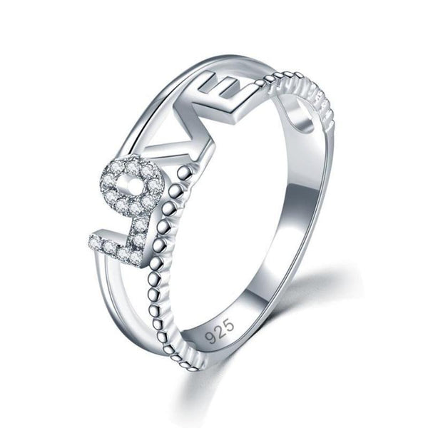 LOVE Silver Fashion Ring Band