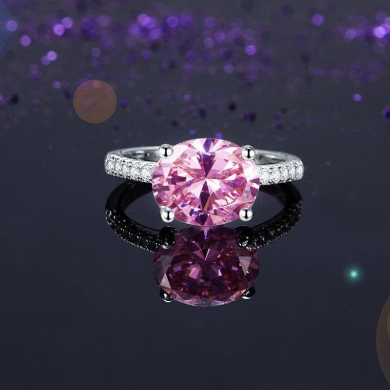 Fancy Pink Oval Cut 4 Carat Ring