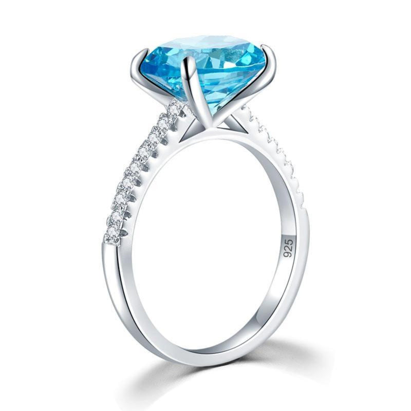 Blue Oval Cut 4 Carat Ring