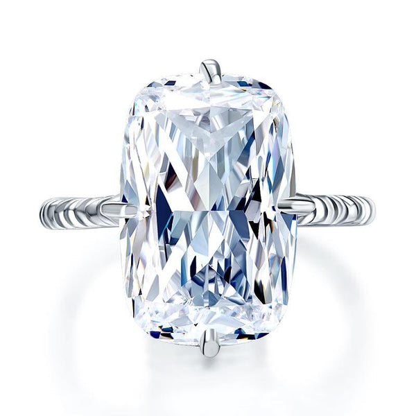 Rectangle Cushion Cut 8.5 Carat Solitaire Statement Ring