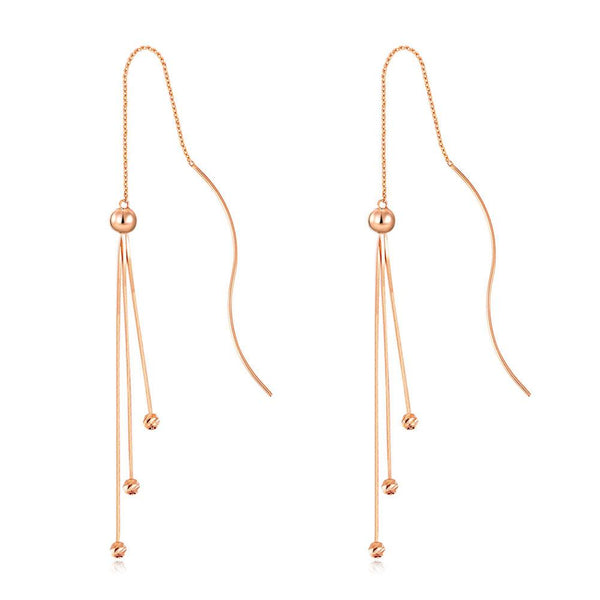 Rose Gold 18K/750 TRI Chain Ball Drop Earrings