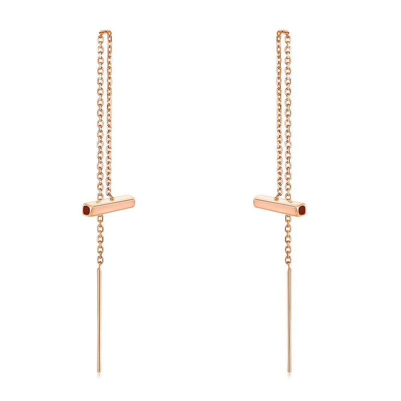 Rose Gold 18K/750 Long Line Bar Earrings