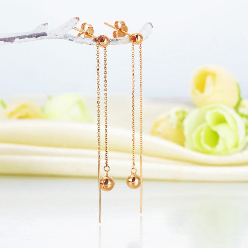 Rose Gold 18K/750 Double Chain Dangle Earrings