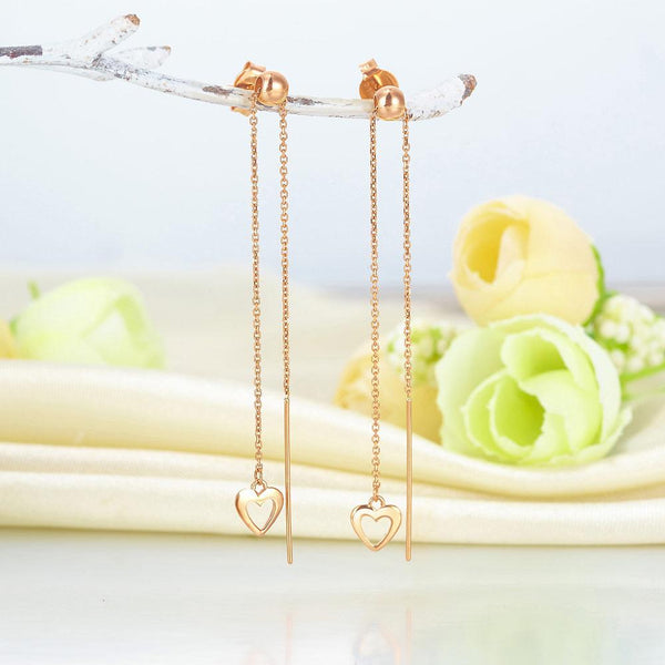 Rose Gold 18K/750 Open Cut Heart Dangle Earrings