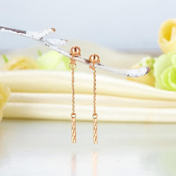 Rose Gold 18K/750 Dangling Bar Drop Earrings