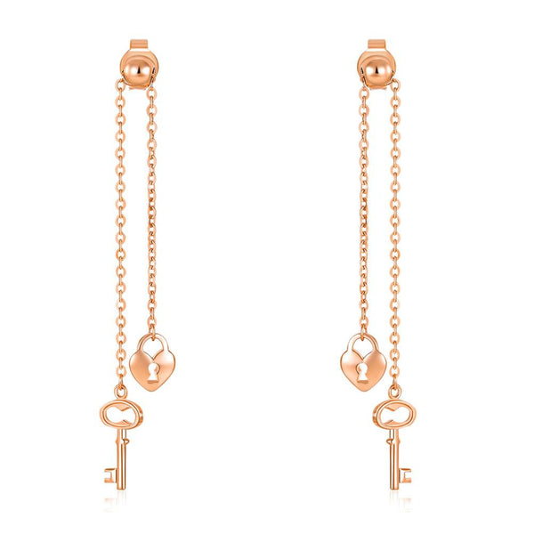 Rose Gold 18K/750 Lock and Key Dangle Earrings