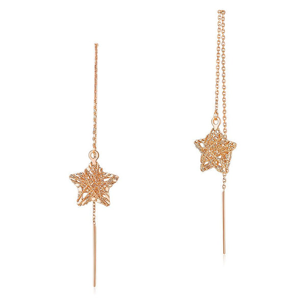 Rose Gold 18k/750 Roped Cut Star Drop Earrings