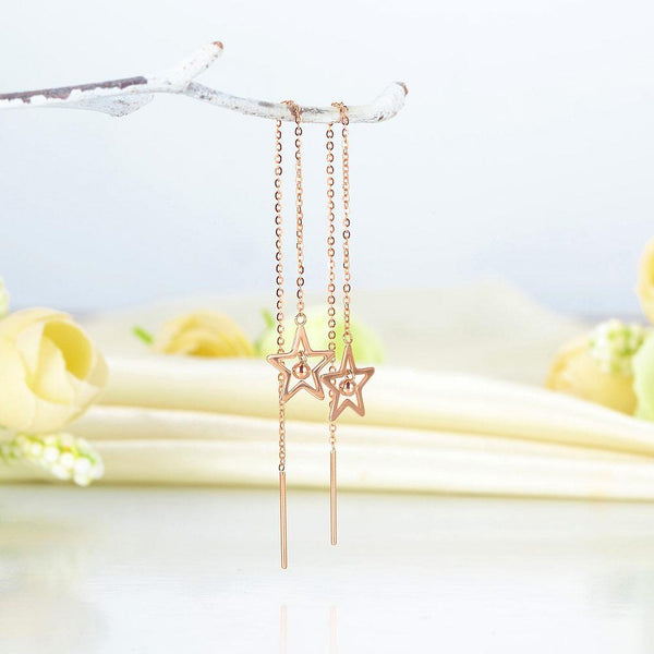 Rose Gold 18K/750 Open Cut Dangle Star Earrings