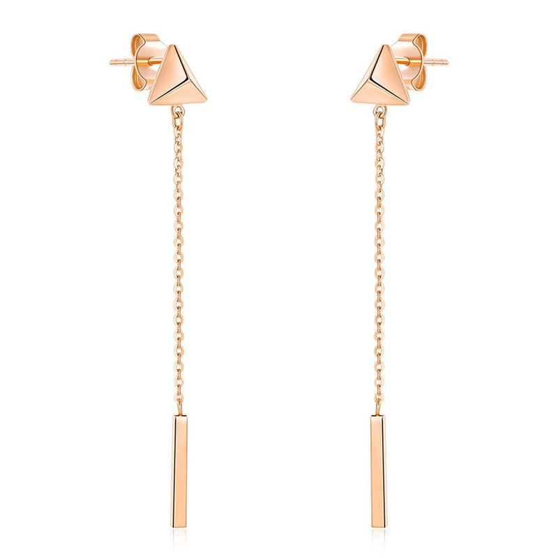 Rose Gold 18K/750 Triangle Stud Chain Drop Earrings