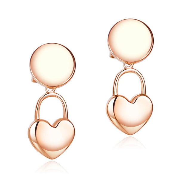 Solid 18K/750 Rose Gold Hanging Heart Stud Earrings