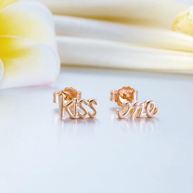"Rose Gold 18K/750  ""Kiss Me"" Stud  Earrings"