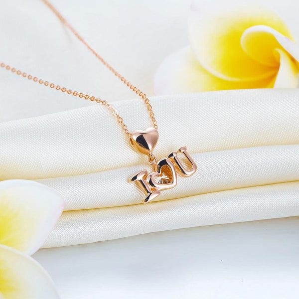 "Rose Gold 18K/750 ""I Love U"" Heart Necklace"