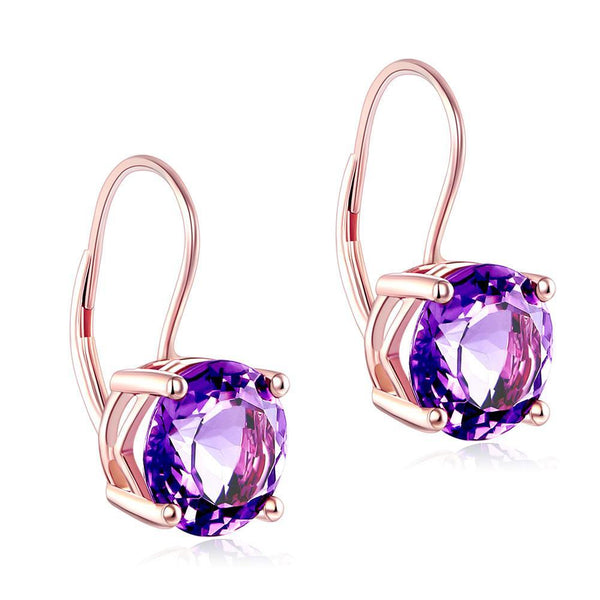 Amethyst Round Cut 2 CT 14K Rose Gold Drop Earrings