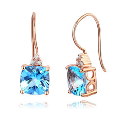 Swiss Blue Cushion Cut 2.5CT/.07 Diamonds Drop Earrings
