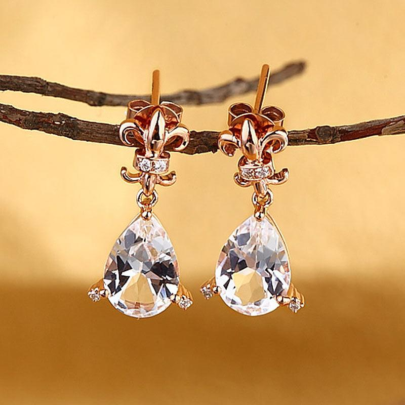 Pear Cut Topaz 3.5 CT/.07 Diamonds Dangle Tear Drop Earrings