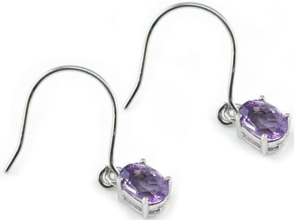 Oval Cut 2 Carat Amethyst (Genuine) Earrings