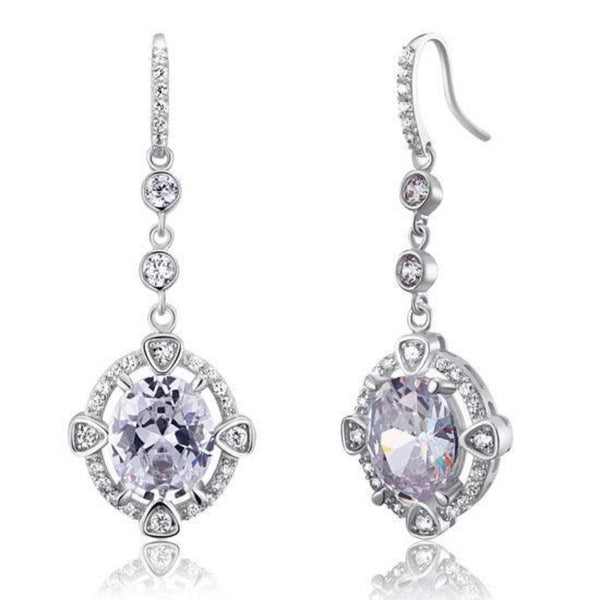 Intricate Detailed Oval Cut 5 CT Dangle Earrings