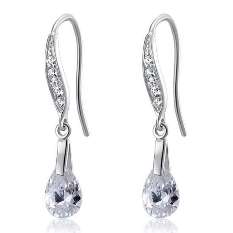 Pear Cut 2 Carat Crafted White Sapphire Dangle Earrings