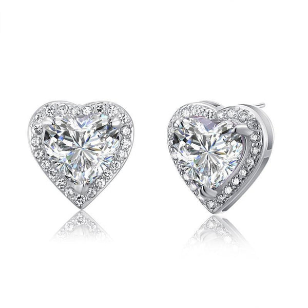 Bezeled Embedded Heart Cut 3 Carat Earrings