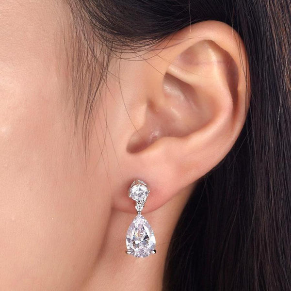 Pear Cut 3 Carat Dangle Earrings